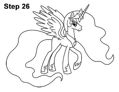 Как нарисовать пони принцессу Селестию (с примерами и видео)
