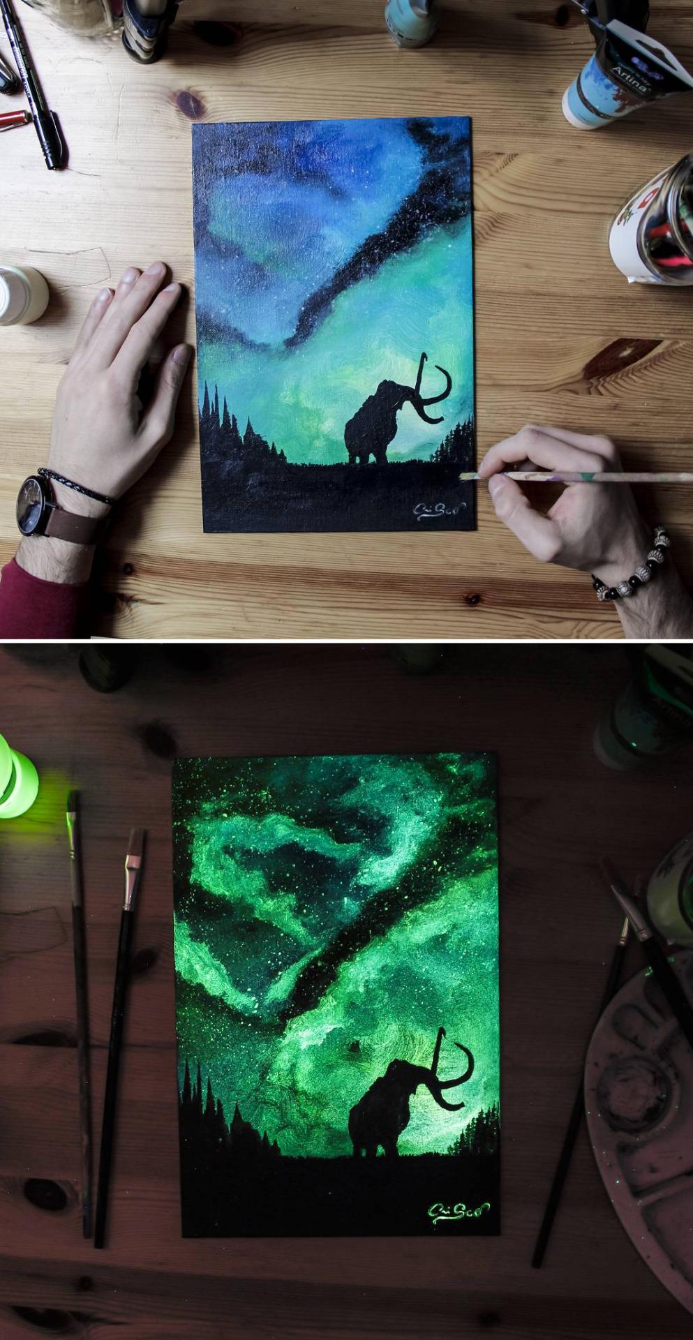 Картины светящиеся в темноте своими руками 1020