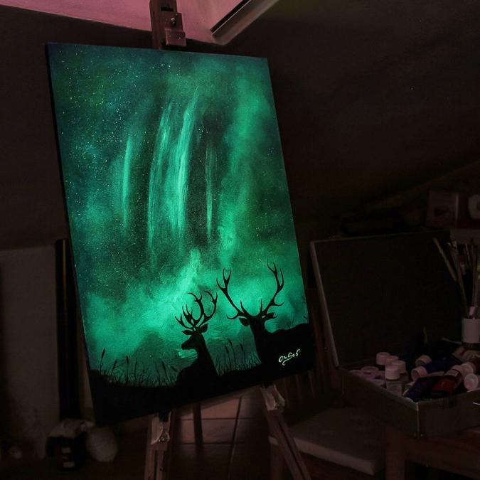 Картины светящиеся в темноте своими руками 552