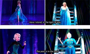 Эльза в мультфильме и в спектакле Frozen Live at the Hyperion
