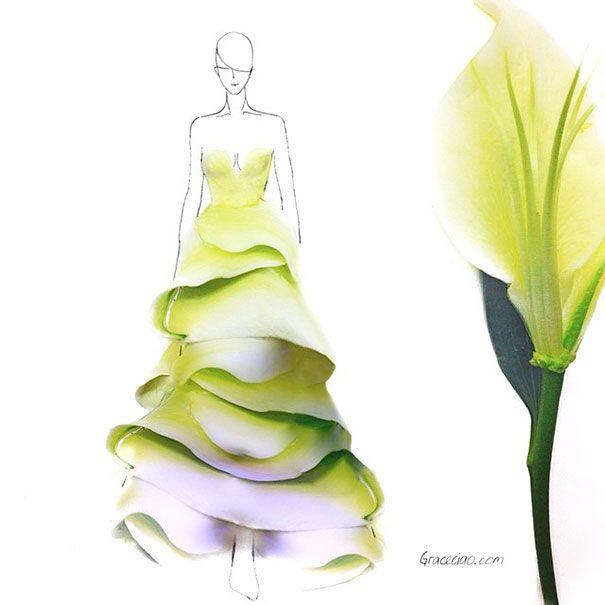 Рисунок на платье с цветами
