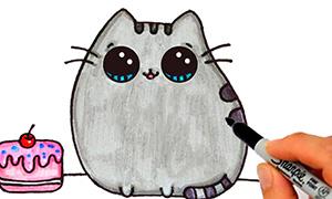 Как нарисовать кота Пушина с тортиком