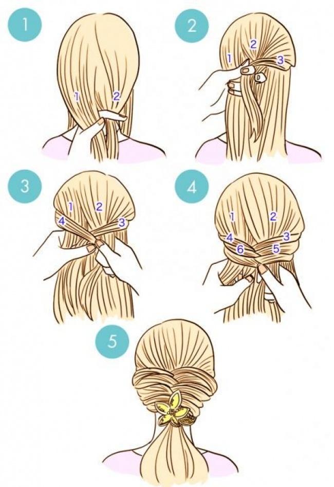 Схемы плетения лёгких причёсок