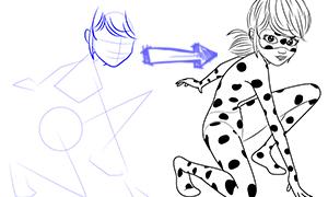 Леди баг и супер-кот картинки для срисовки вольпина