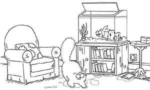 Мультфильм: Кот Саймона и аквариум