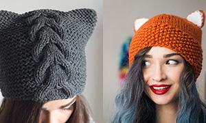 Вязанные шапки с ушками
