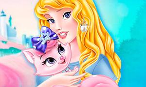 Игра для девочек: Принцесса Аврора и её кошка Милашка