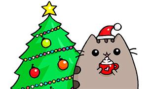 Как нарисовать новогоднего кота Пушина