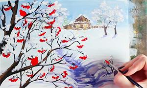 Как нарисовать зимний пейзаж гуашью