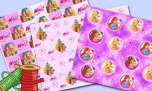 Винкс Клуб: Новогодние обои и фоны для упаковочной бумаги