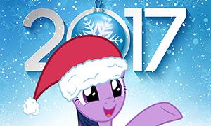 Новогодние открытки с пони 2017