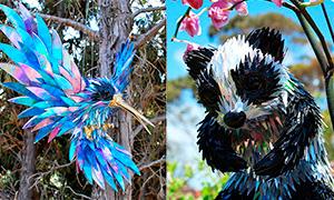 Скульптуры животных и птиц из CD дисков