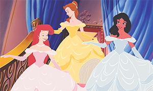 Принцессы Белль, Жасмин и Ариэль в мультфильмах друг друга