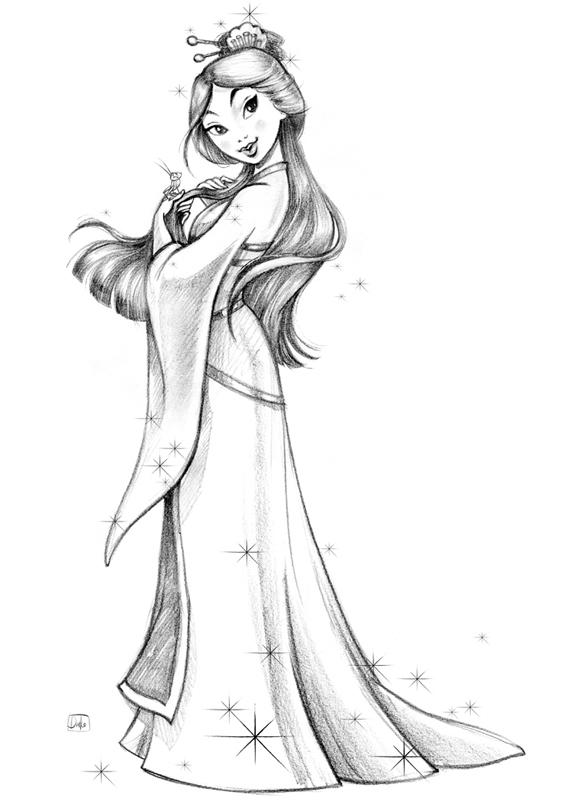 Волшебные арты Дисней Принцесс, нарисованные карандашом ... Цветной Рисунок Карандашами