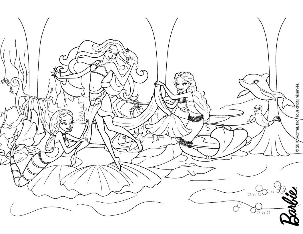 Раскраска Барби Приключения Русалочки, новый наряд Барби